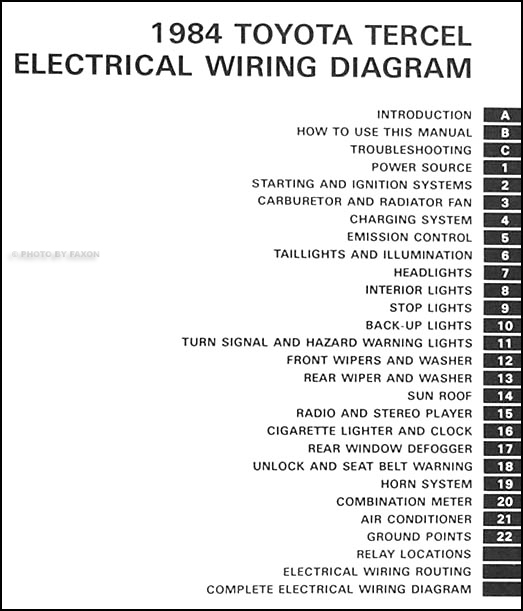 1984 toyota tercel wiring diagram manual original, Wiring diagram