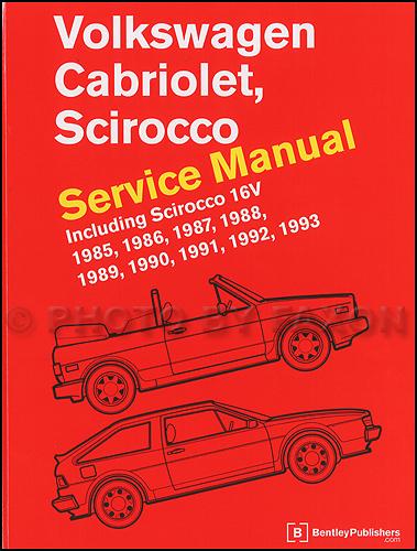 1985 1993 vw cabriolet and scirocco bentley repair shop manual rh faxonautoliterature com