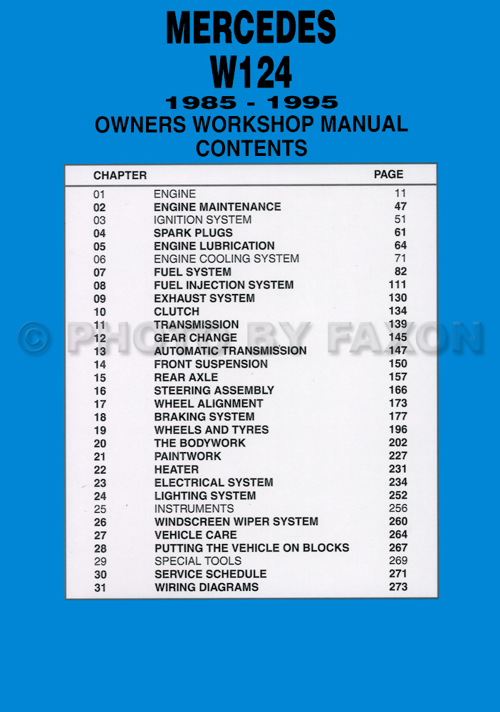 1985 95MercedesBenzW124RM TOC 1985 1995 mercedes e class w124 owners workshop manual, worldwide mercedes benz w124 230e wiring diagram at crackthecode.co