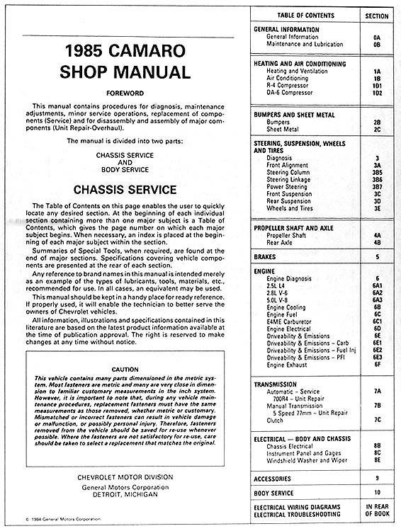 1984 1985 Camaro Shop Manual On Cd Chevy Repair Service