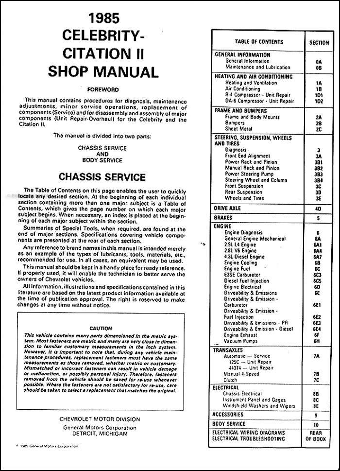 1985 chevrolet citation ii celebrity repair shop manual. Black Bedroom Furniture Sets. Home Design Ideas