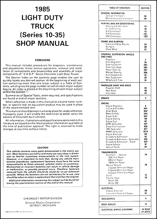1985 chevy truck repair shop manual original pickup blazer table of contents
