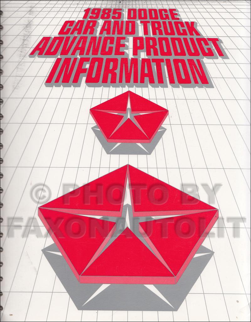 1985 Dodge Sales Training Album Original Advance Data and Color & Upholstery
