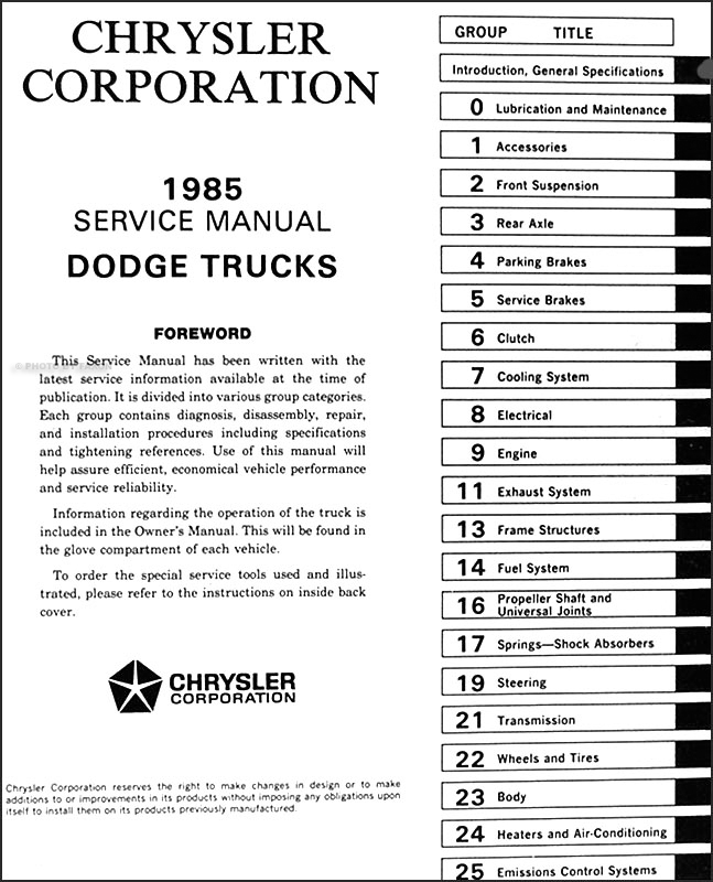 1985 Dodge Truck Repair Shop Manual D150 D250 D350 W150