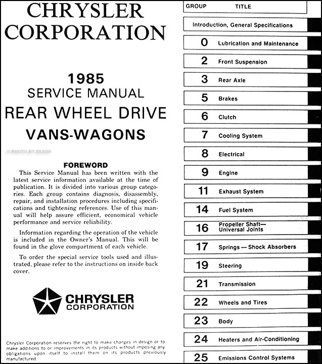 1985 Dodge Ram Van & Wagon Repair Shop Manual Original B150 B350 2004 Dodge Ram 1500 Headlight Wiring 1979 Dodge Ram Van Wiring Diagram 2001 Dodge Ram Van Wiring Diagram At IT-Energia.com