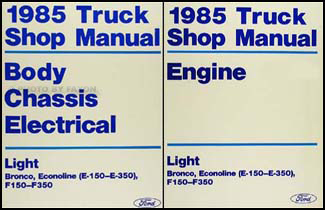 1985FordLightTruckORMSet 1985 ford truck and van repair shop manual e f 150 350 bronco f 1985 ford f350 fuse box at bakdesigns.co