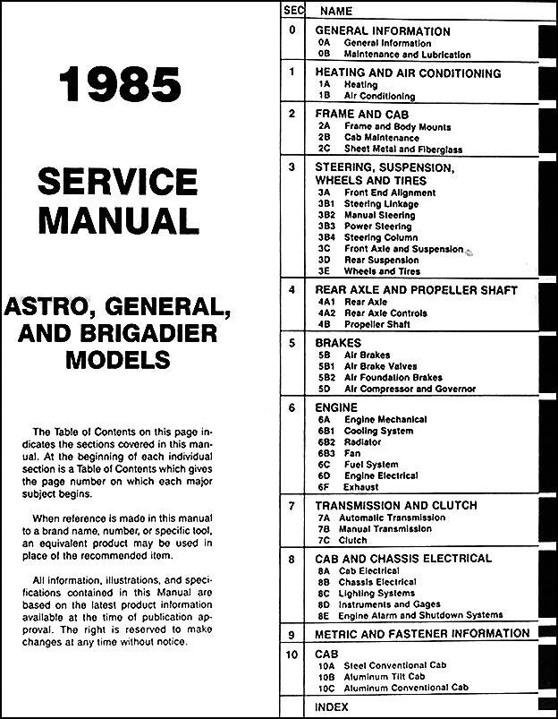 1985 gmc heavy duty repair shop manual astro  general
