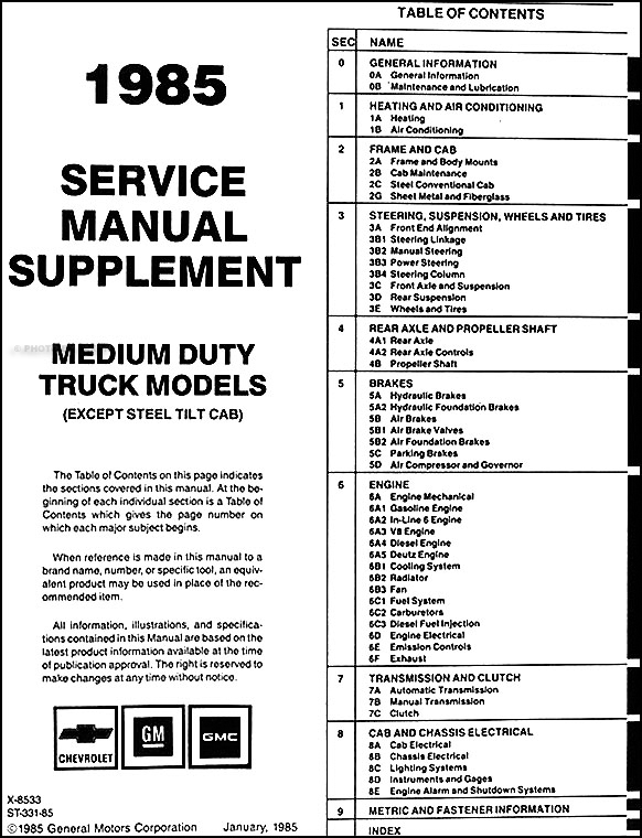 wiring schematic 1993 gmc forward 7000 wiring discover your 1985 gmc medium truck repair shop manual original supplement 40007000