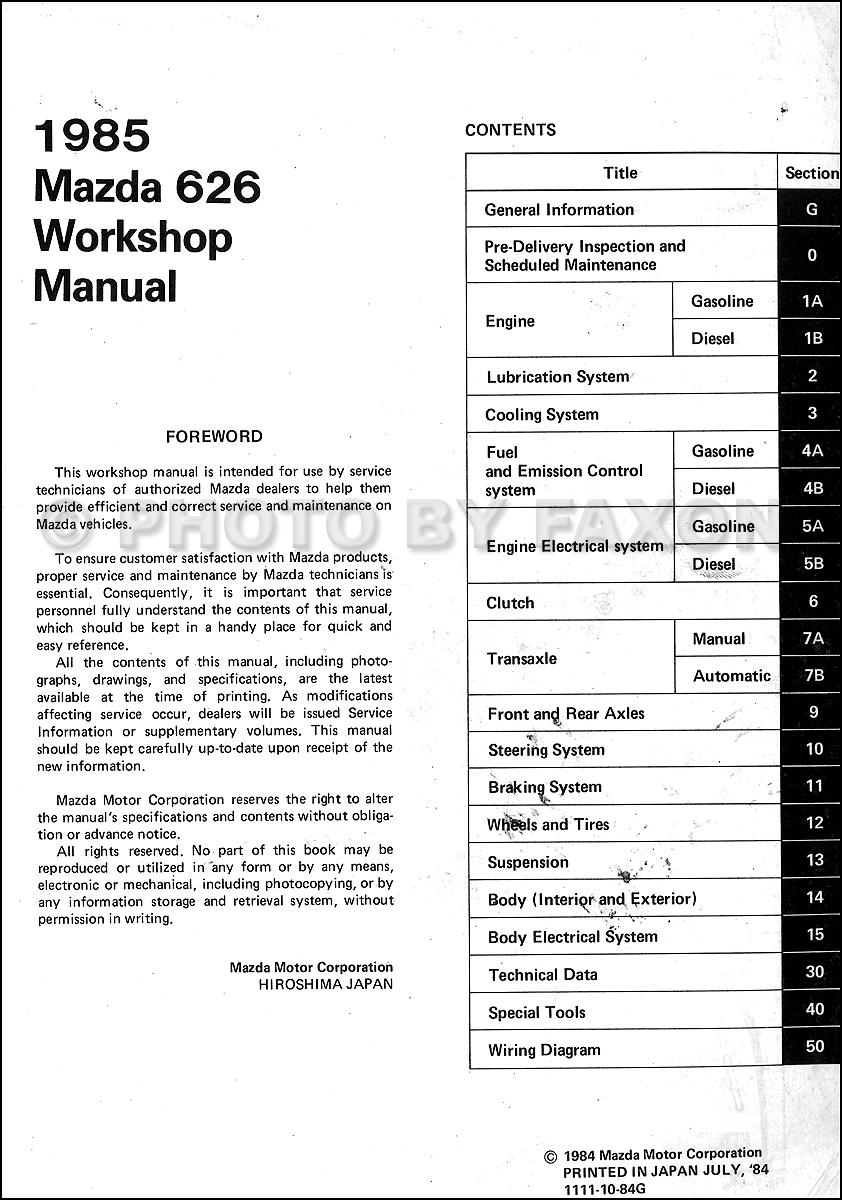 service manual pdf 1984 mazda 626 workshop manuals. Black Bedroom Furniture Sets. Home Design Ideas