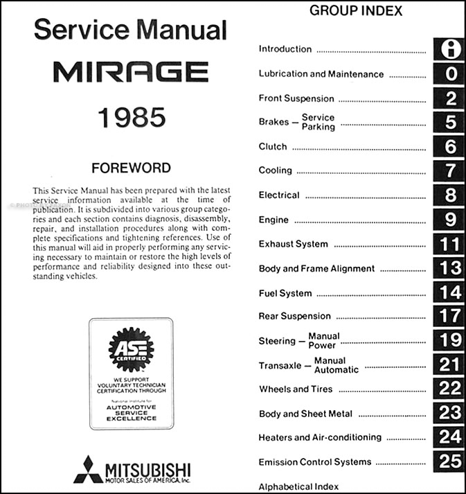 1985 mitsubishi mirage repair shop manual original rh faxonautoliterature com mitsubishi mirage repair manual pdf 2001 mitsubishi mirage repair manual