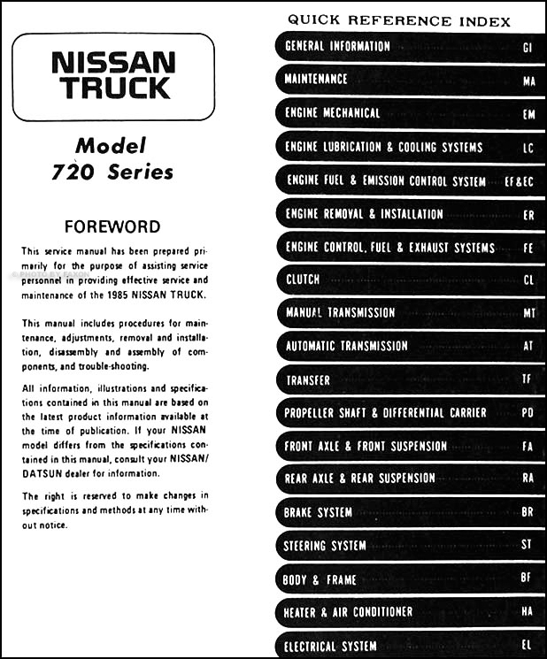 1985 Nissan Pickup Truck Repair Shop Manual Original
