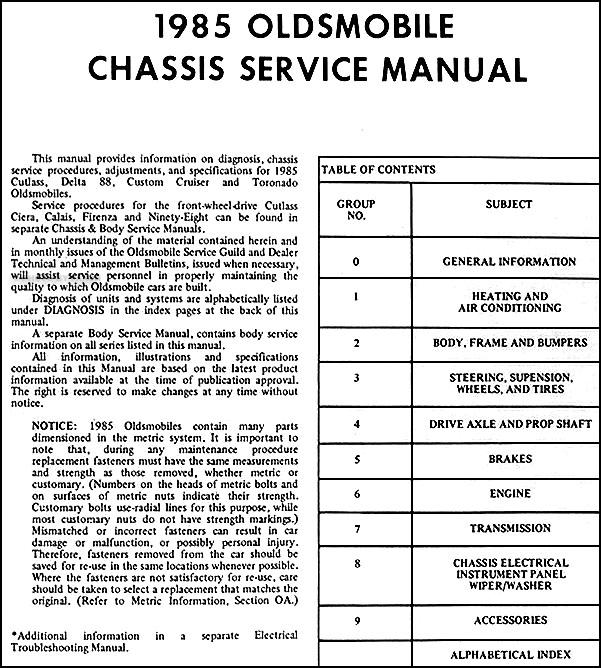 1985 Olds Repair Shop Manual 88 Cutlass Supreme Toronado