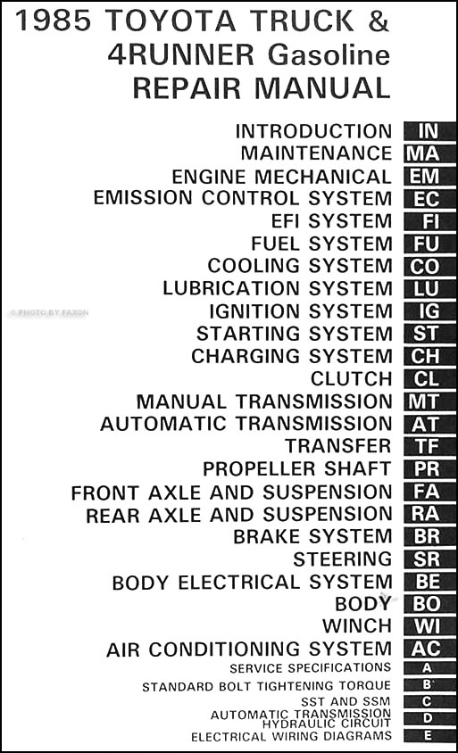 1985ToyotaTruckORM TOC 1985 toyota pickup truck & 4runner repair shop manual original 85 toyota pickup wiring diagram at eliteediting.co