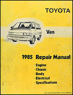 1985 Toyota Van Repair Manual Original