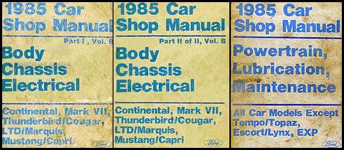 lincoln continental foldout electrical wiring diagram original 1985 fomoco repair shop manualvols b d mustang thunderbird cougar capri marquis continental mark vii 149 00