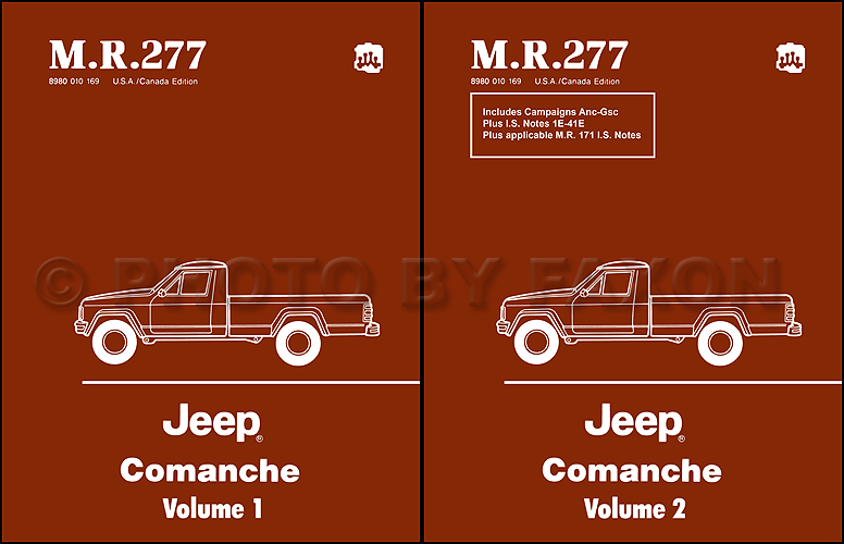 1986 1988 jeep comanche repair shop manual set reprint m r 277 rh faxonautoliterature com 1989 Jeep YJ Wiring Diagram 1989 Jeep YJ Wiring Diagram