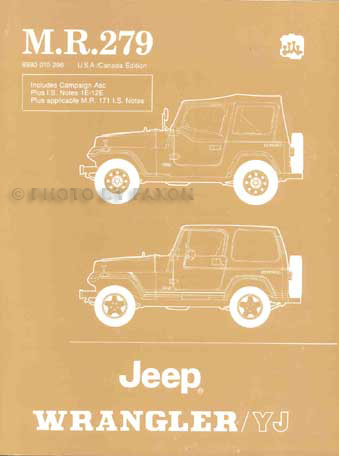 1986-1988 Jeep Wrangler/YJ Shop Manual Original with IS Notes