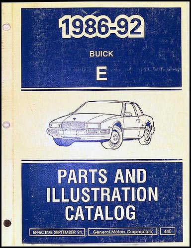 1986-91 Buick Riviera/Reatta Parts Book Original
