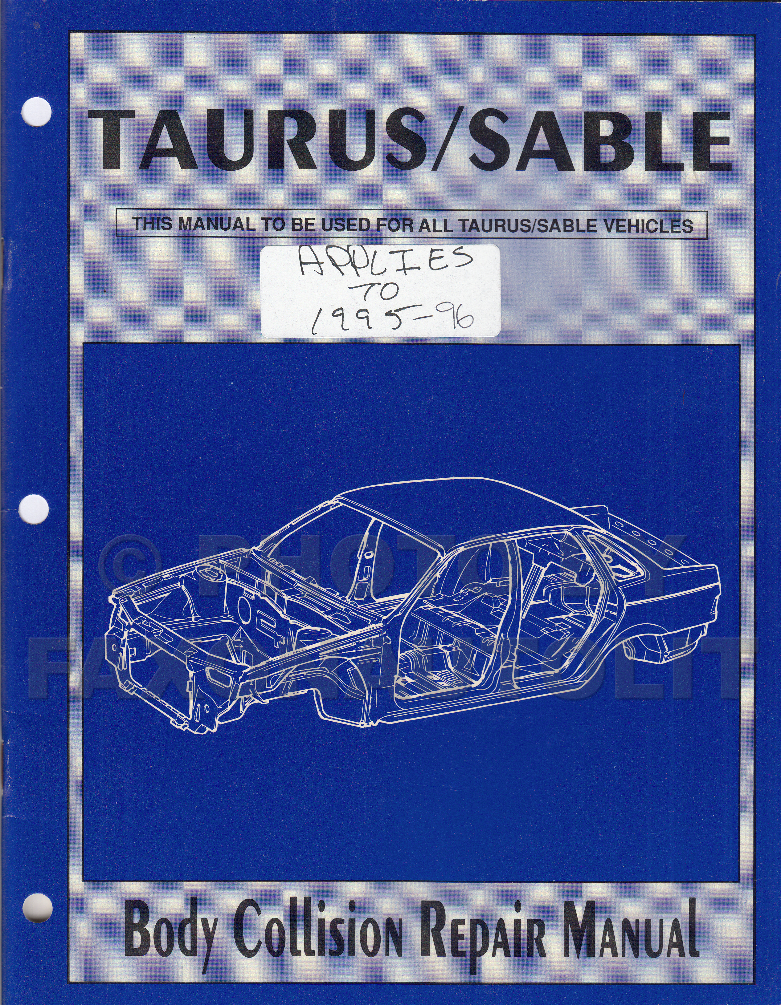 1993 ford taurus and mercury sable wiring diagram original 1986 1996 ford taurus mercury sable body collision repair shop manual original