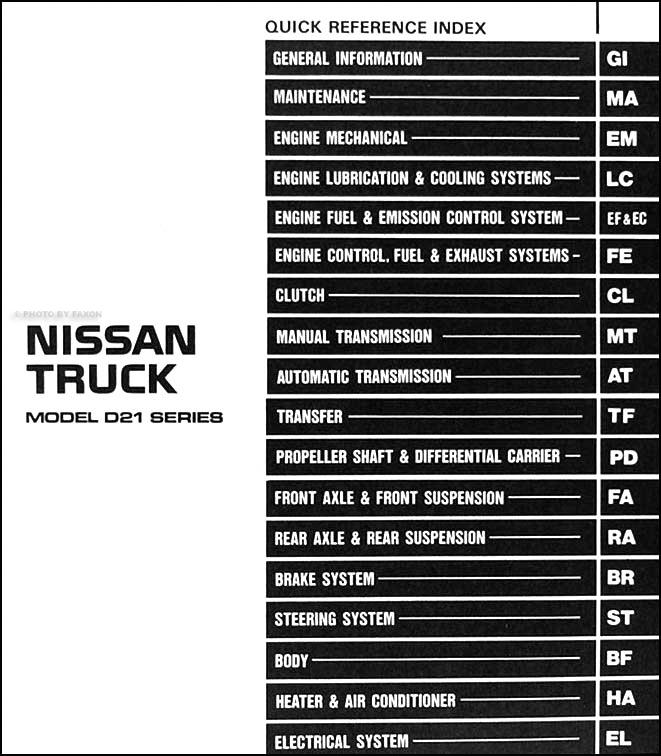 1986 5 nissan hardbody truck repair shop manual original d21 rh faxonautoliterature com 1996 nissan altima service manual 1996 nissan 200sx service manual pdf