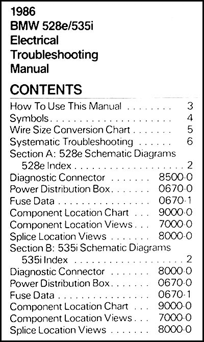 1986 Bmw 528e 535i Electrical Troubleshooting Manual