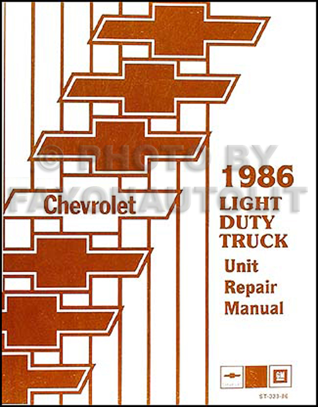 1986ChevroletLightDutyUnitRepair 1986 chevy truck repair shop manual original pickup blazer 1986 Chevy C30 Fuel Wiring-Diagram at aneh.co