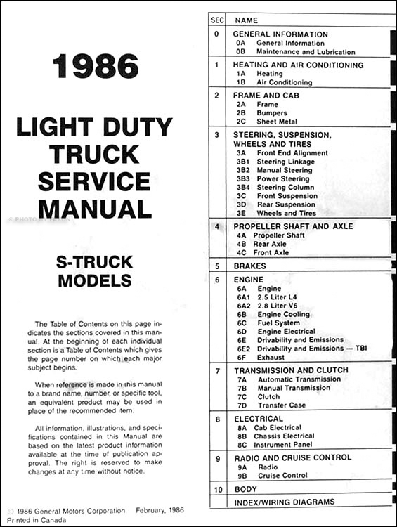 1986ChevyS 10 TOC 1986 chevrolet s 10 pickup & blazer repair shop manual original Chevrolet Engine Wiring Diagram at mifinder.co