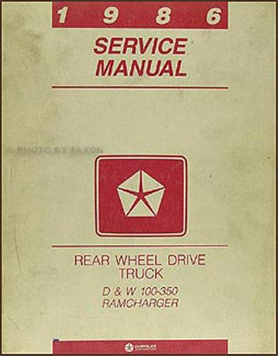 dodge ramcharger service manuals shop owner maintenance and 1986 dodge pickup truck ramcharger repair manual original
