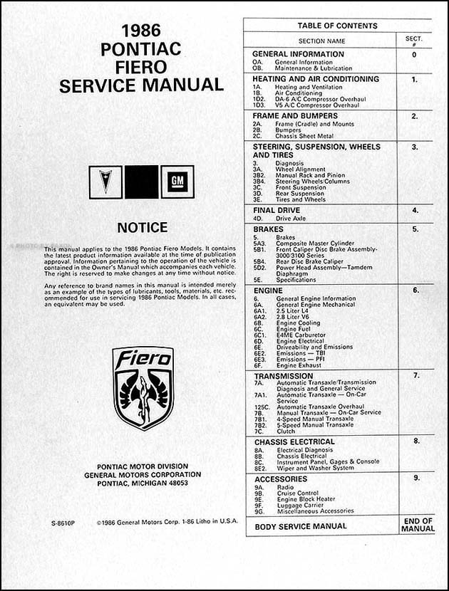 1986 Fiero Repair Shop Manual Original