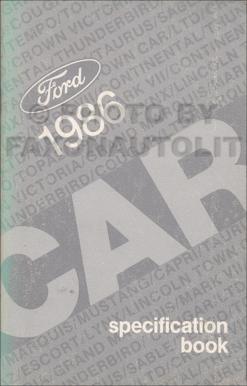 1986 Ford Lincoln Mercury Service Specifications Book Original