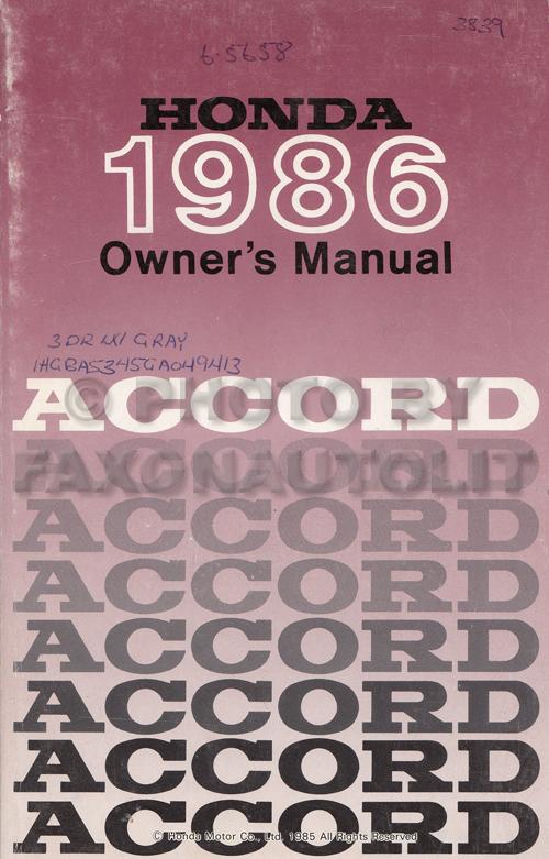 1986 honda accord hatchback owner s manual original rh faxonautoliterature com Cartoon Manual ford fiesta 2001 owners manual hatchback