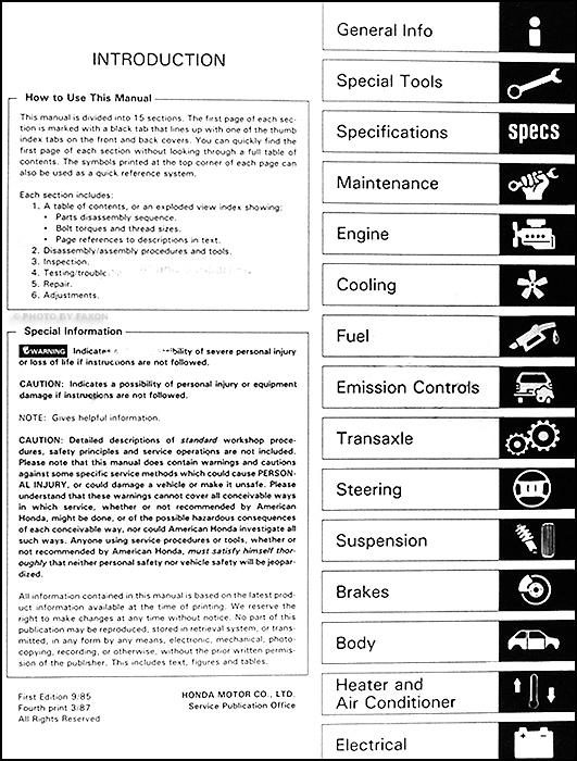 1986 honda accord repair shop manual original rh faxonautoliterature com Honda Accord Repair Manual Online 1986 honda accord workshop manual
