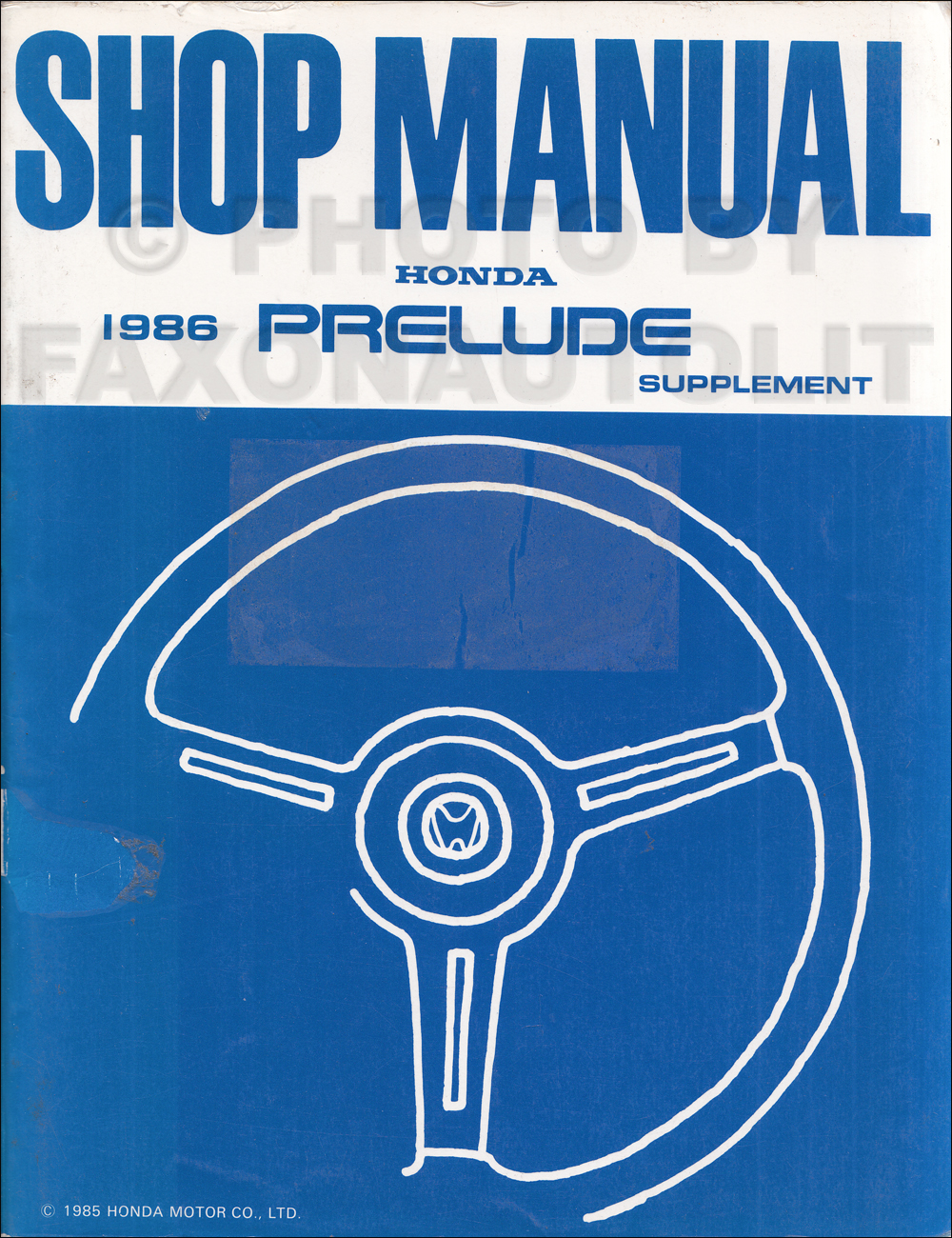 1996 Honda Prelude Repair Manual Supplement Original