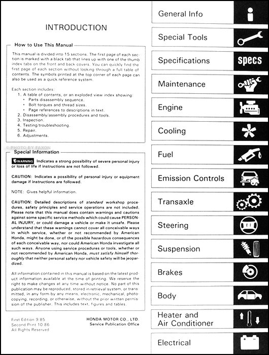 1986 honda prelude repair shop manual original rh faxonautoliterature com honda prelude service manual download 1989 honda prelude repair manual pdf