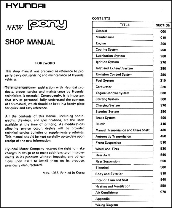 1986 hyundai pony repair shop manual original rh faxonautoliterature com 2003 Hyundai Tiburon Repair Manual Hyundai Santa Fe Repair Manual