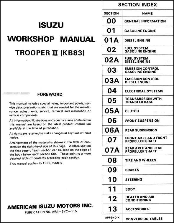 1986IsuzuTrooperORM TOC 1986 isuzu trooper ii repair shop manual 2000 Isuzu Trooper Fuse Box Diagram at eliteediting.co