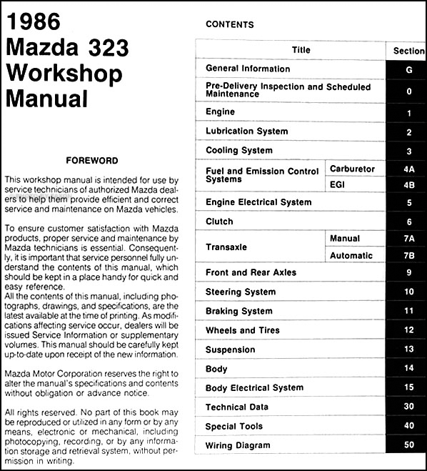1986 Mazda 323 Repair Shop Manual Originalrhfaxonautoliterature: Mazda 323 Hatchback Wiring Diagram At Elf-jo.com