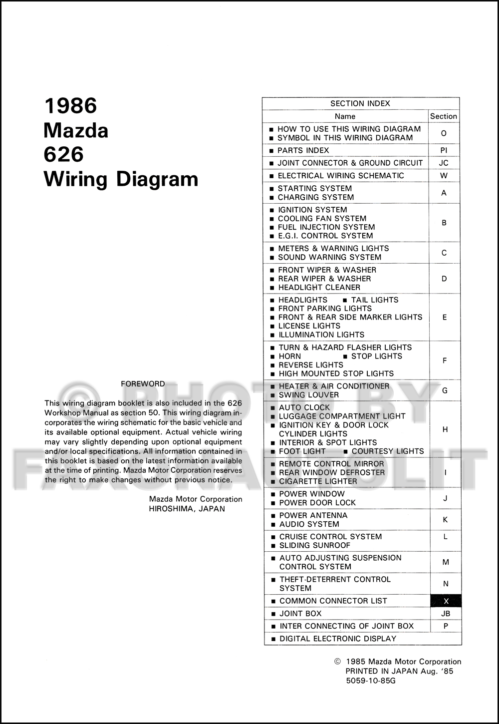 1986 mazda 626 wiring diagram manual original rh faxonautoliterature com