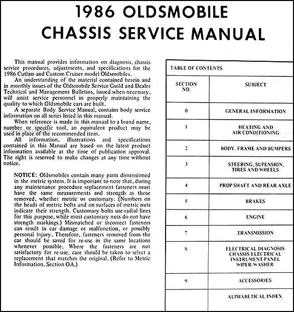 1986 olds cutlass supreme salon custom cruiser repair shop manual orig