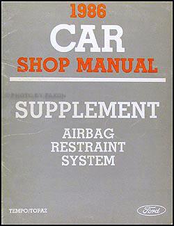 1986 Ford Tempo/Topaz Airbag Manual Supplement Original