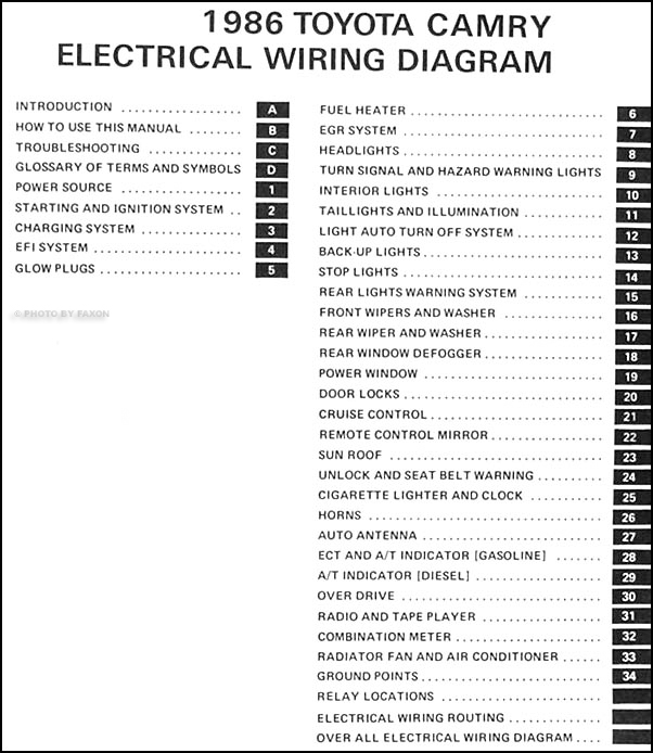 1986 Toyota Camry Wiring Diagram Manual Original