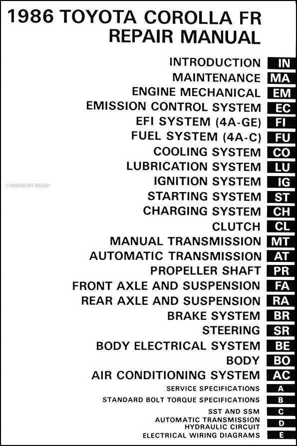 1986 Toyota Corolla Rwd Repair Shop Manual Original Gt