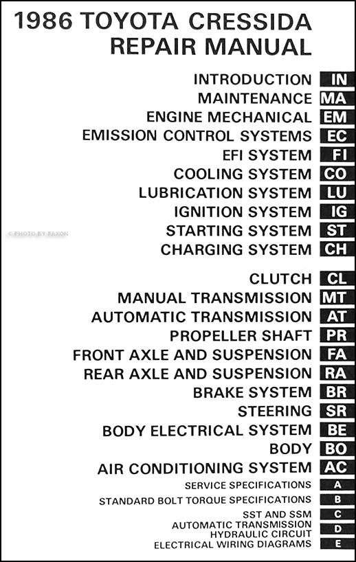 1986 toyota cressida repair shop manual original rh faxonautoliterature com Toyota Supra Engine Toyota 7MGE Engine