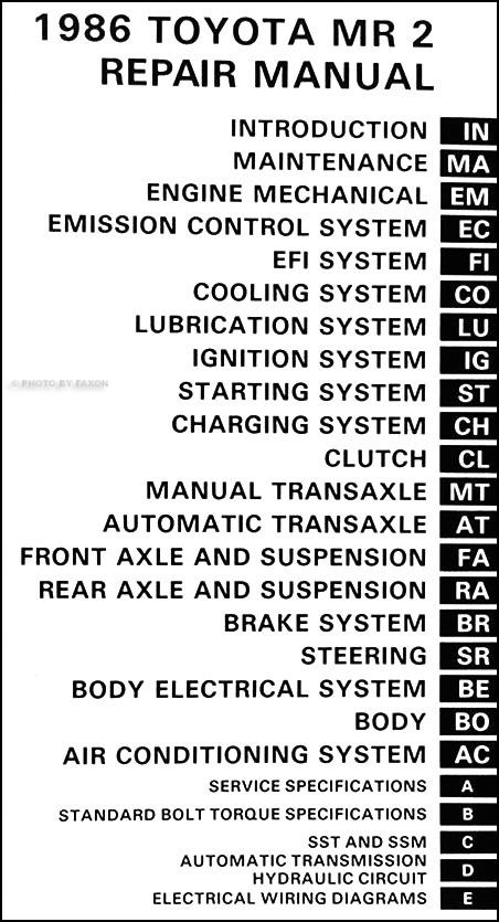 1986 toyota mr2 repair shop manual original rh faxonautoliterature com 1991 Toyota MR2 1997 Toyota MR2