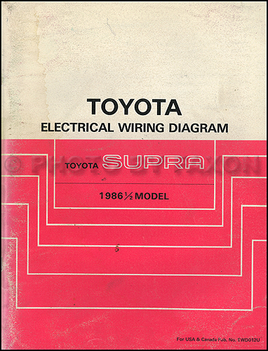 1986 5 Toyota Supra Wiring Diagram Manual Original