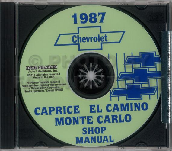 1987 Chevy Shop Manual Cd Monte Carlo Caprice El Camino