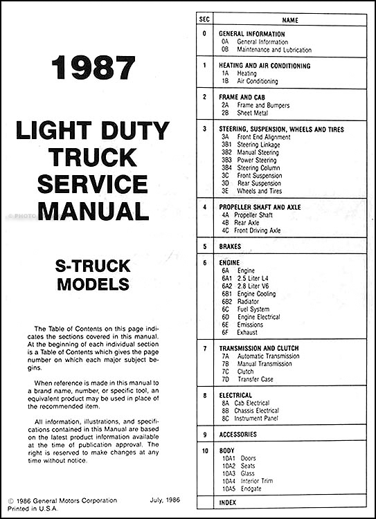 1987 Chevrolet S10 Pickup and Blazer Shop Manual Original. Table of Contents