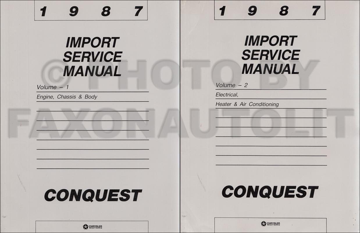 1987 chrysler conquest repair shop manual original 2 volume set rh  faxonautoliterature com