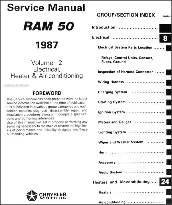 1987 dodge ram 50 truck repair shop manual original 2 volume set