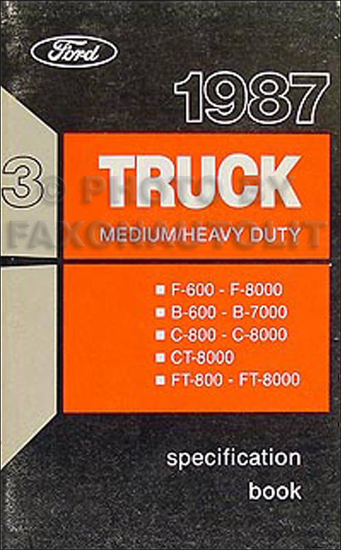 1987 Ford Medium and Heavy Truck Service Specifications Book Original
